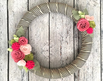 Spring Wreath, Felt Flower Wreath with Rose and Pink Flowers, Summer Wreath, Pink Cabbage Rose, Black and White Striped Ribbon, 18""