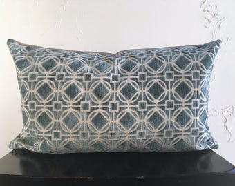 SET Aqua Geometric Pillow Covers, 12x20 Lattice Chenille and Linen, Lumbar Pillow Covers, Spring Pillows, Dusty Green Throw Pillows