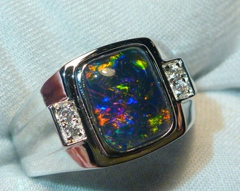 Mens Opal Ring Sterling Silver, Natural Opal Triplet. 10x8mm Rectangle. item 060605