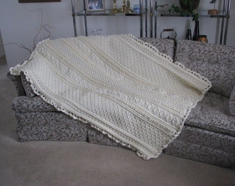 Large cream Aran crocheted afghan