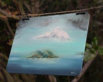 Island painting, Original landscape artwork, Aqua art, Original wallart, Blue and green painting, Seascape, Rainstorm