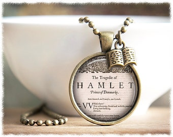 Book Necklace • Shakespeare Jewelry • Literary Gift • Book Lover • Librarian Gift