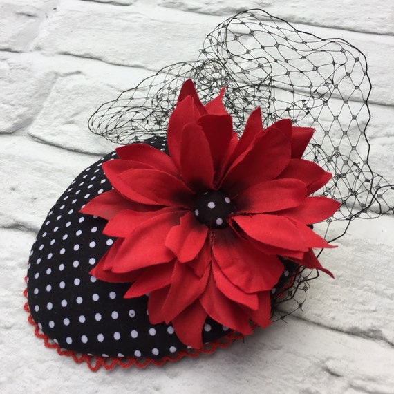 Polka Dot and Red Flower Fascinator Rockabilly Pinup style