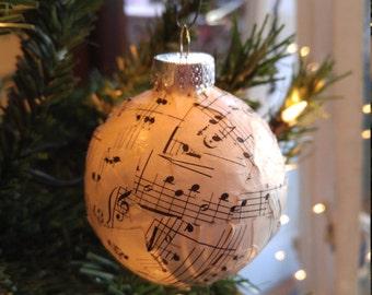 Sheet Music Ball Ornament - Vintage Sheet Music Decoupage Ornament - Musical Christmas Ornament - Music Stocking Stuffer- Gifts Under 10