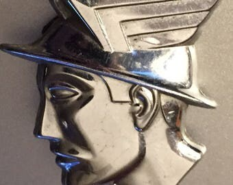 Chrome Mercury Messenger Lapel Pin Vintage Winged Auto Insignia 1950s Figural Ford insignia Brooch