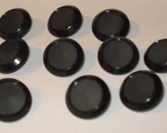 Set of 12 Old Black Plastic Coat Buttons-(  7/8 inch)-Item# 523