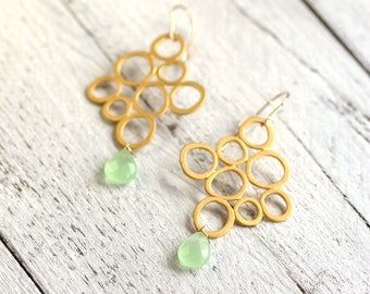 BALLOON Earrings with gemstone | gold