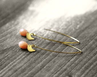 TINY BIRD earrings my bird and gem | gold