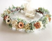 "Bridal Flower Crown, Blush Wedding, Flower Crown, Floral Headpiece, Boho Wedding, Bridal Hairpiece,  Floral Crown, Head Wreath, ""ZEN BLUSH"""