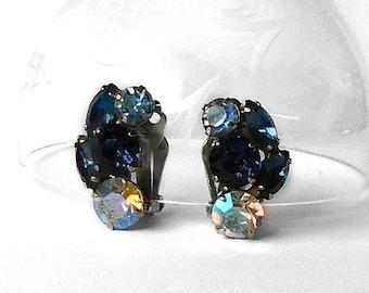 ON SALE Vintage Earrings Blue Rhinestones Aurora Borealis rhinestones Silver tone