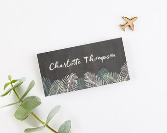 Tropical Chalkboard Folded Place Cards