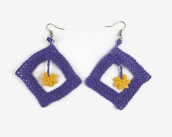 Crochet Purple Square Earrings With Yellow Dangle Flower - Turkish Oya - Unique Crochet Jewelry -  Spring Summer - Statement Earrings