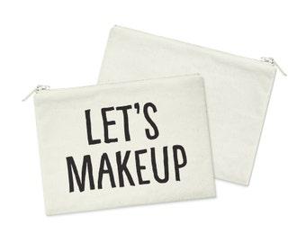 Let's Makeup // Heavy Cotton Canvas Cosmetic Bag // Makeup Bag // Canvas Bag with Zipper