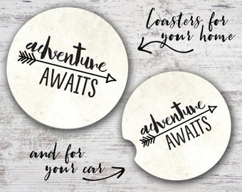 Adventure Awaits Sandstone Home Coaster or Car Coaster
