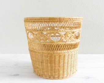 "Vintage 10"" Straw Basket Planter"