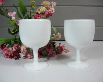 A set of Two Milk Glass Goblets, Chalice, Small Planters, Herb Planter,  Country Chic, Cottage, Farmhouse, Classic