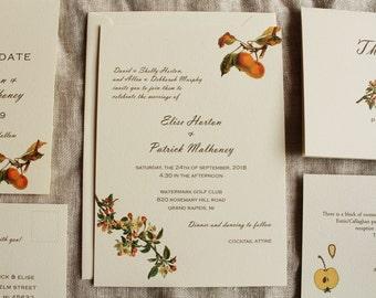 Apple Blossom Wedding Invitations Printable or Ship