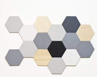 Wood wall tiles - Hexagon wall decor set - Unique mosaic - Choose your colors - bedroom wall decor - office wall installation