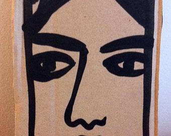 Dessin original, original artwork, portrait girl fille sur carton, cardboard