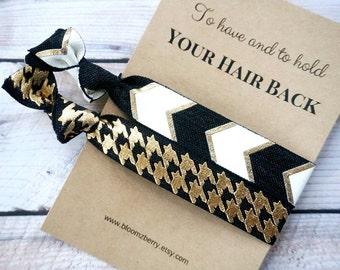 Black/White/Gold Bridemaid Gift 2 pcs set - To Have and To Hold Your Hair Back- Bridesmaid Proposal Gift- Wedding/Bridesmaid/Gift/Party