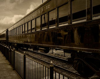 Steam Train Travel Americana Train Engine Railroad Rail Transportation Sepia Home Decor Art Print Photo