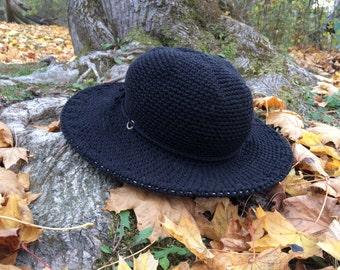 Winter Hat | Wide Brim Hat | Black felt Hat | Womens Hat | Boho brim hat | Fall and Winter Hats for Women |Gift for her | Black Friday Sale