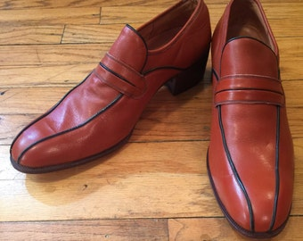 1970s Unione Export Mens Leather Loafers Vintage Dress Shoes Size 43