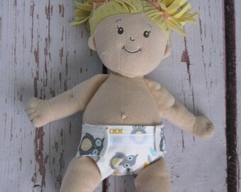 Doll Diaper-Handmade Diaper fits Baby Stella, Pottery Barn Doll other dolls-Gray, Blue and Yellow Owl print diaper-Great for pretend play