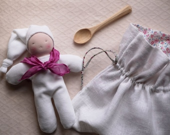 Baby Waldorf set, cuddle doll and a wood spoon, waldorf for newborn