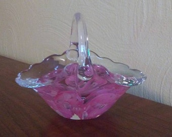 Signed 1984 Pink Hand Crafted Glass Basket Paperweight by Joe Zimmerman