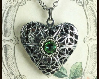 Locket Pendant Necklace, Locket with Peridot Crystal, Aroma Therapy Locket, Locket with Swarovski® Crystal, Lockets for Women