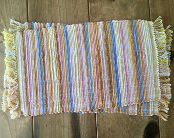 ON SALE Honey, Gold, Cream, and Soft Pink and Blue Handwoven Nicaraguan Placemats Set of 2