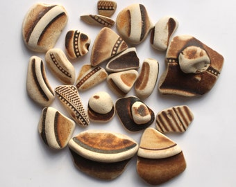 genuine  beach pottery #seapottery jewelry supply arts and crafts supplies jewellery mosaics brown cream vintage china (549)