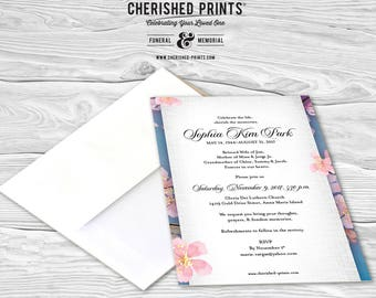 Cherry Blossoms Invitation, Mourning Cards, Announcements, Invites, Celebration of life, Funeral, Memorial, Flowers, Pink