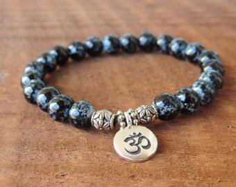 Black Jasper Bracelet, Chakra Bracelet, Healing Meditation Bracelet, Yoga Bracelet, Wrist Mala