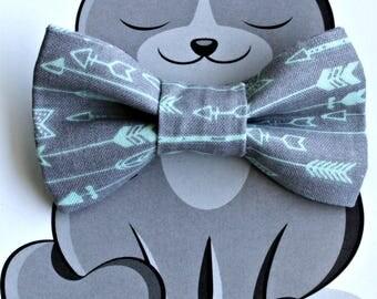 Mint Arrows Bow Tie for Cat, Dog Bow Tie, Collar Accessory, Pet Wardrobe, Handmade in Canada, Slip On Collar Accessory, Grey
