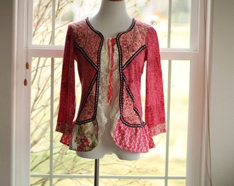 Romantic Womens Upcycled Mori Girl Cardigan | Flirty Shabby Chic Women's Top