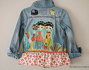 Frida Kahlo Girls Denim Jean Jacket / Funky Boho Jean Coat / Girl Gift Size 5 Bohemian Clothing by Reloved Clothing Co