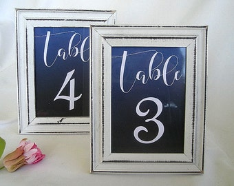 Wedding Table Card Wood Frame Whitewash Wood Table Cards Frames Number Table Number Frame Rustic Vintage Distressed White Wood Shabby Chic