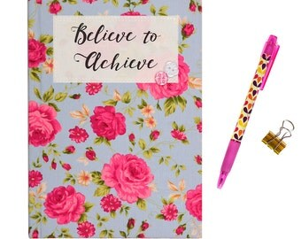 A5 Fabric Covered 'Believe to Achieve' Ruled Notebook - Light Blue Pink Vintage Floral