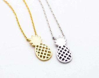 "Tiny Gold ""Pineapple"" Necklace, Hawaiian Pineapple Necklace, Pineapple Jewelry - Dainty, Simple, Birthday Gift, Wedding Bridesmaid Gift"