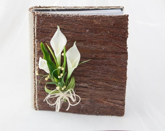 Wooden photo Album 4'' x 6''with lily calla decor, Wood wedding album, Rustic and farmhouse photo album, Rope & burlap album, 4''x6'' photos