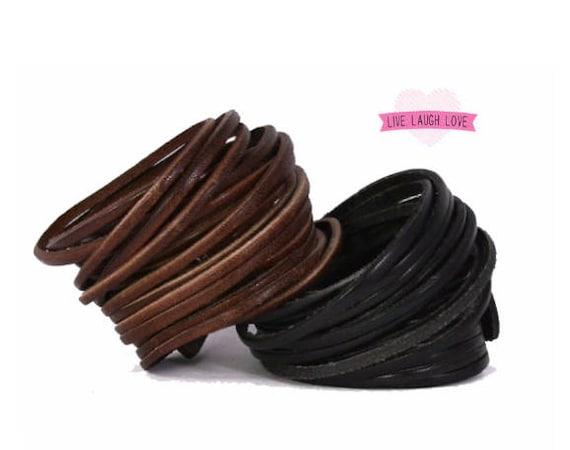 Genuine Leather Wrap Bracelet. Multi-strand Leather Cuff. Bangle Bracelets Black Brown Red Blue Green Pink Stacked Sliced B001A