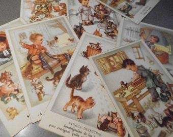 Vintage Postcards, Lot of nine postcards of trades