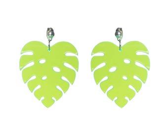 Monstera Leaf earrings - laser cut acrylic