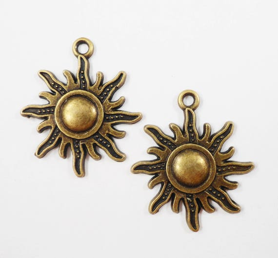 Bronze Sun Charms 27x25mm Bronze Sun Pendants, Antique Brass Sun Charms, Sunshine Charms, Bronze Metal Charms, Weather Charms, 10pcs