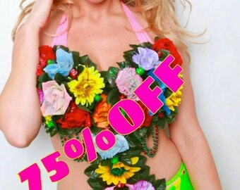 LED Flower queen neon red RAVE EDM festival Edc Ultra Tomorowland sexy costume go go dancer stage wear by Maria Luck