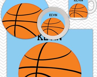 Basketball Plate & Bowl Set - Personalized Basketball Plate Set - Customized Plate and Bowl - Melamine Plate and Bowl Set for Kids