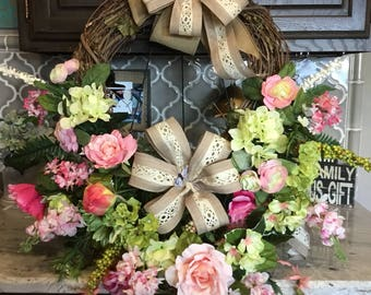 Spring Summer Grapevine wreath