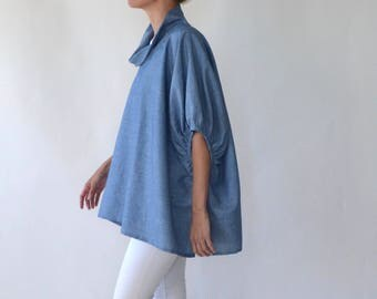 Chambray linen tunic / linen top / plus size linen / maternity linen / linen smock / linen clothing